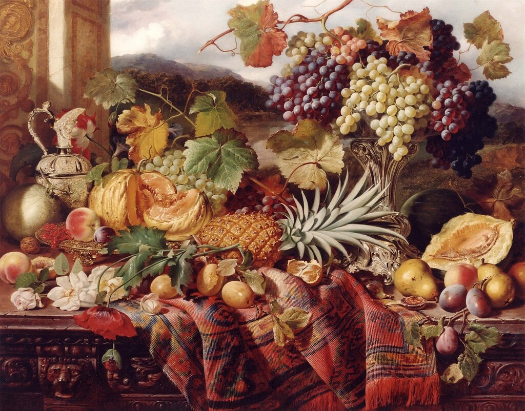 William Duffield - Still Life with Mixed Fruit & a Rug with Landscape Beyond - 11993-2426.jpg