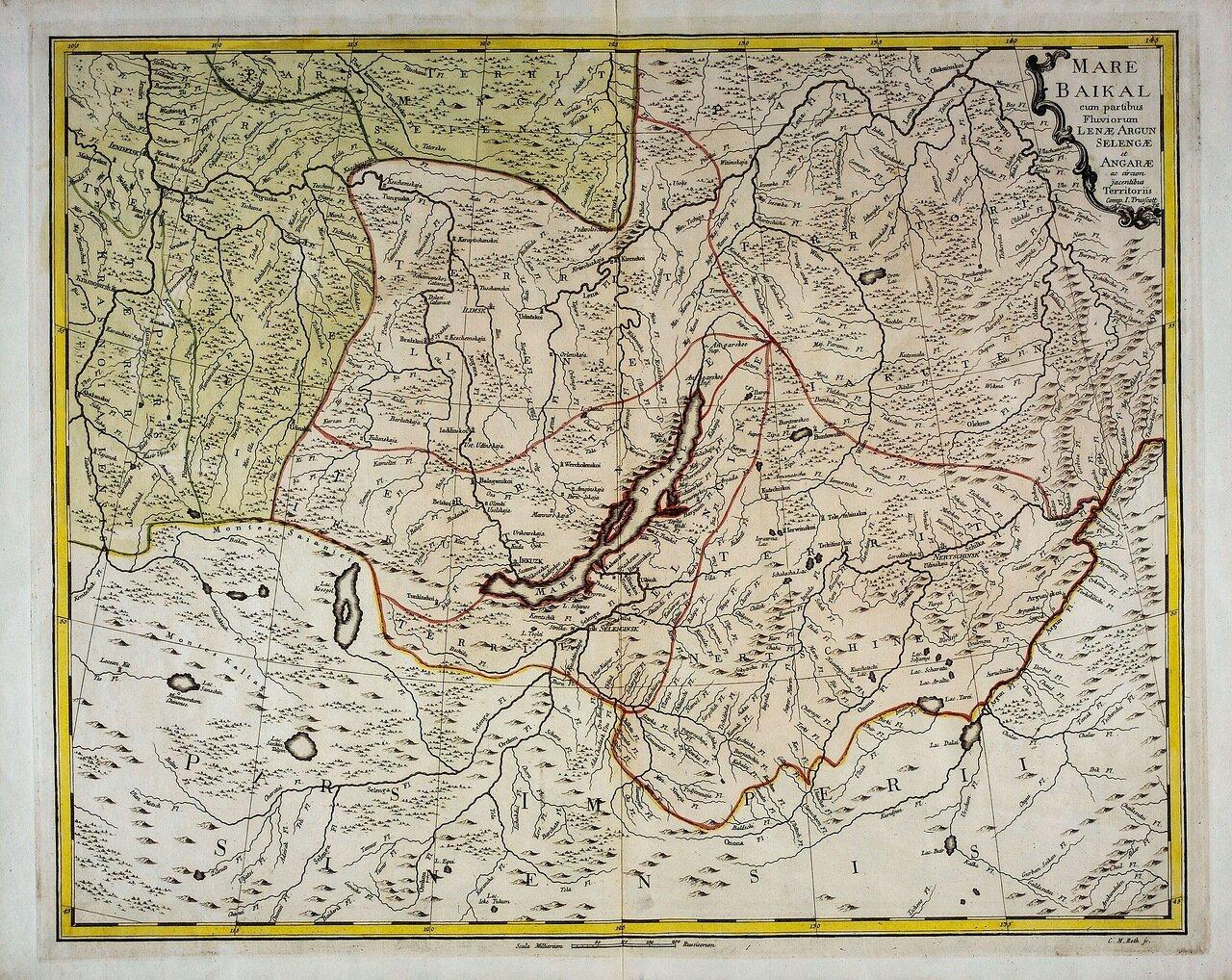 1760. Озеро Байкал с частями рек Аргунь, Селенги,  Ангары, Лены и прилегающих территорий