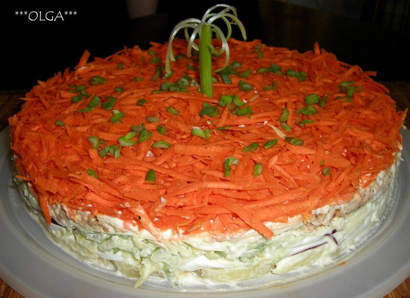 рецепт салат торт с тонкими штучками