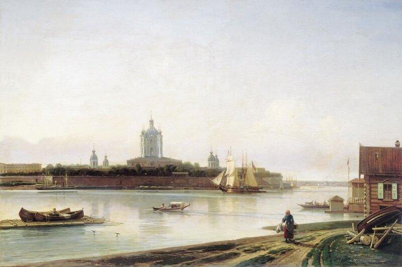БОГОЛЮБОВ Алексей(1824-1896). Вид Смольного монастыря с Большой Охты. 1870-е