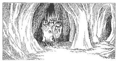 Иллюстрация Туве Янссон к Хоббиту Толкиена (Гоблины в пещере)