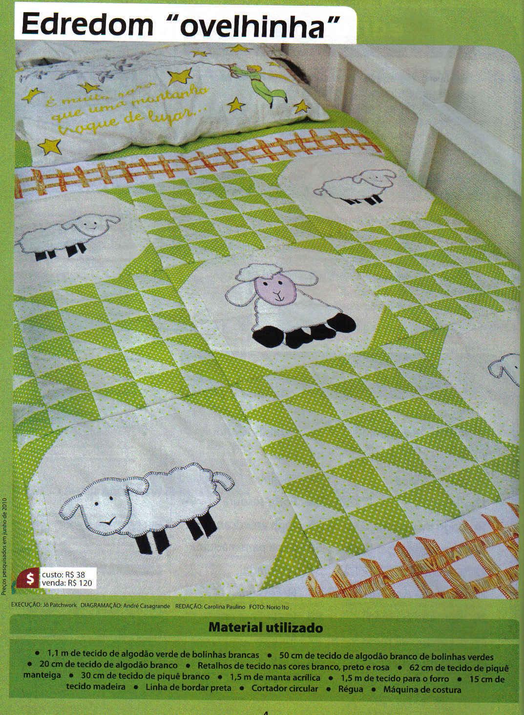 детское одеяло с овечками в технике пэчворк