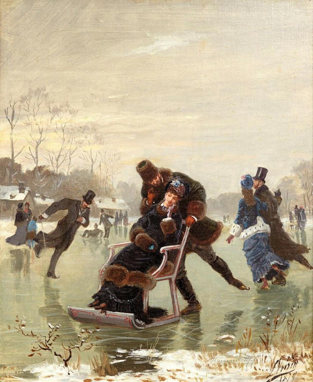 1-Léon Joseph VOIRIN (1833-1887)Patinage Huile sur toile.jpg