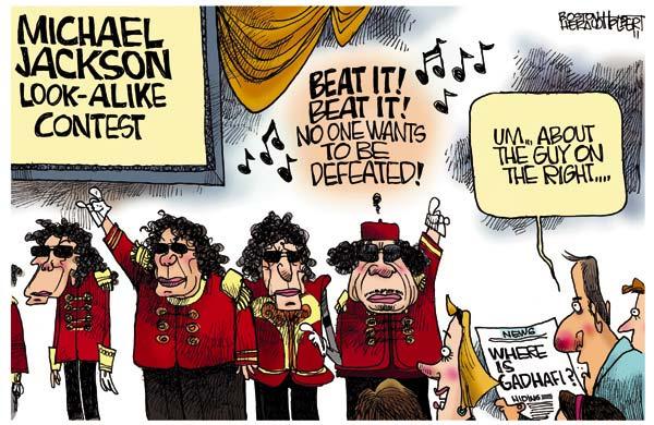 Муаммар Каддафи в западных карикатурах