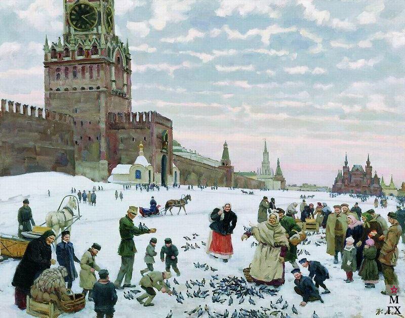 Кормление голубей на Красной площади. Юон К.Ф. Холст, масло. 70x97. Челябинская областная картинная галерея.