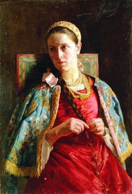 К.Е.Маковский Молодая женщина в русском костюме