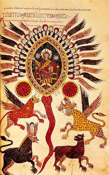 Danielovo vidění Iluminace z 12. stol. v komentáři ke knize Zjevení, sepsaném španělským opatem Beatem Liébanou, Brit Daniel 7,3-10