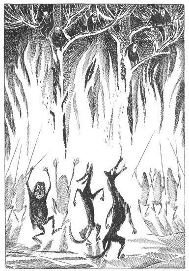 Иллюстрация Туве Янссон к Хоббиту Толкиена (Орки и варги)
