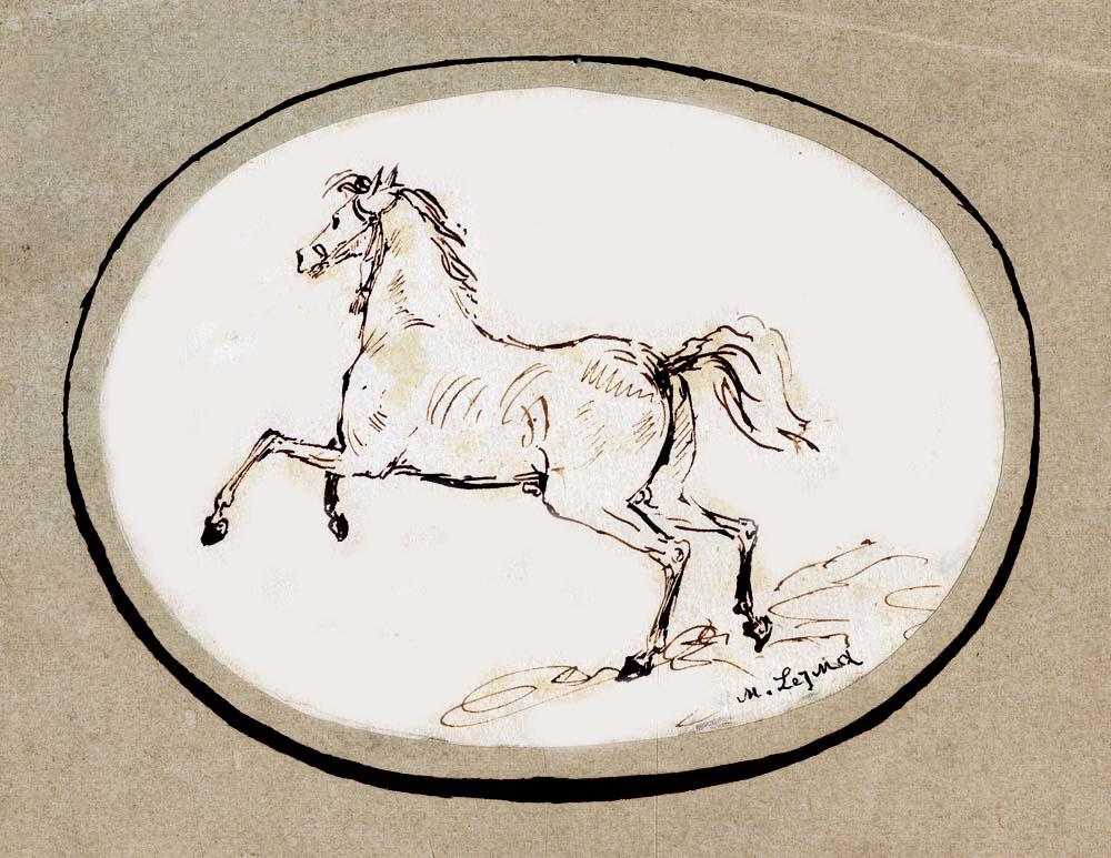 Скачущая неоседланная лошадь. Рисунок пером. 1833–1834.jpg
