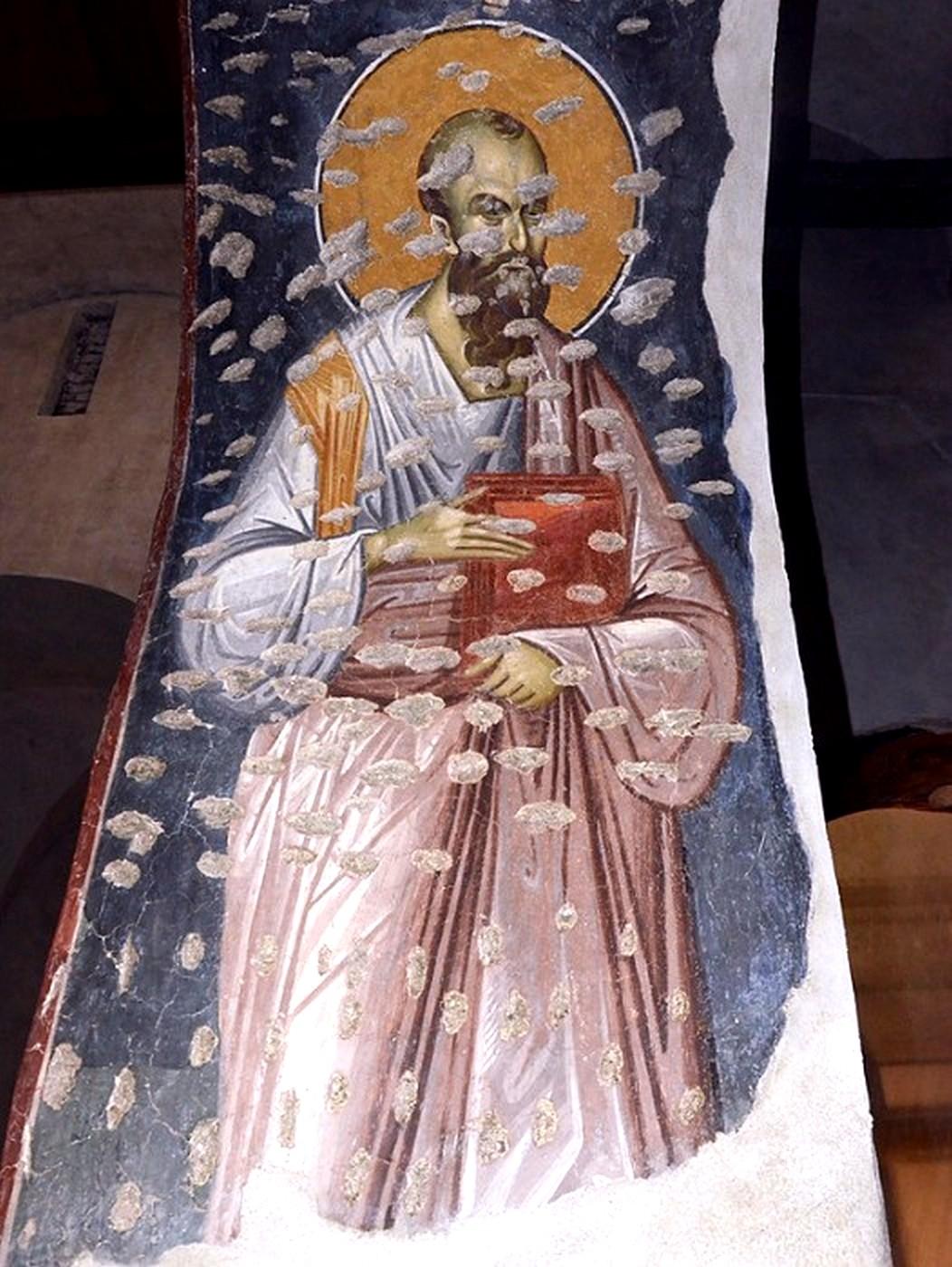 Святой Апостол Павел. Фреска церкви Богородицы Левишки в Призрене, Косово, Сербия. 1310 - 1313 годы. Иконописец Михаил Астрапа.