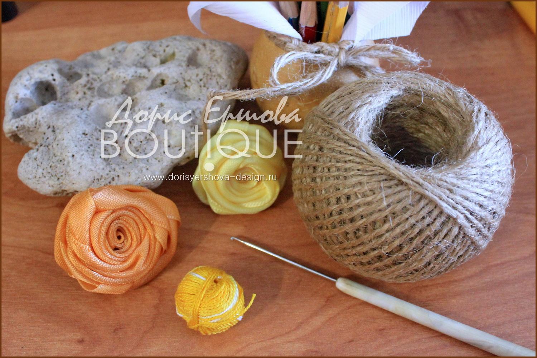 мини-подставка под горячее, джут, кружево, вязанье крючком, нитки ирис, розы из шелка, морской камень, желтый, оранжевый, крючки для вязанья