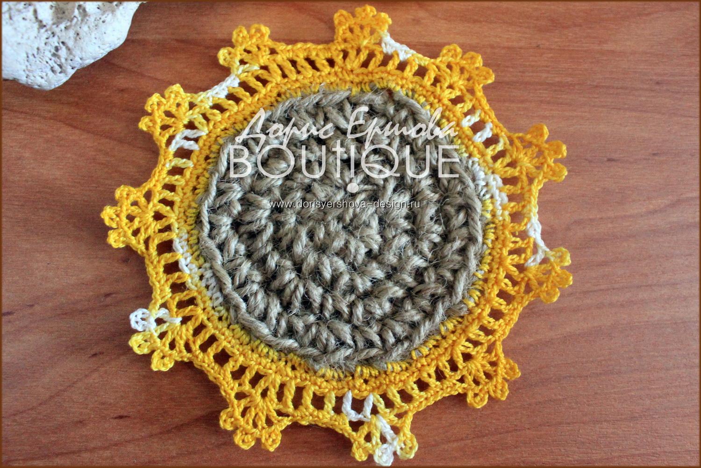 мини-подставка под горячее, джут, кружево, вязанье крючком, нитки ирис, морской камень, желтый, оранжевый