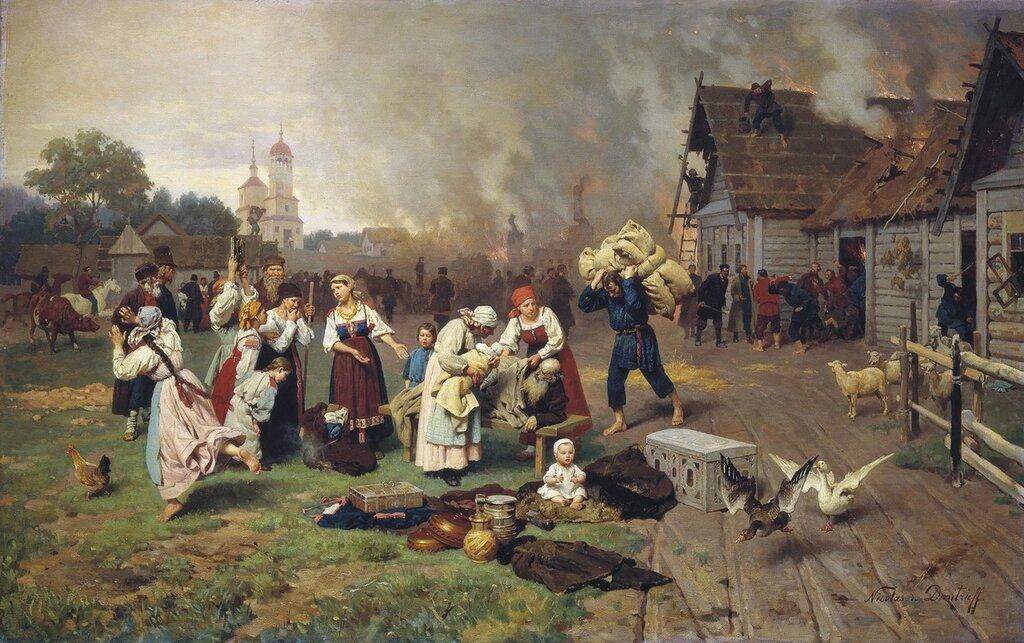 0301.Dmitriev-Orenburgskiiy.Nikolaiy.Pozhar.v.derevne.holst.maslo.jpg