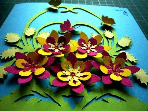 Контурная открытка Корзина с цветами