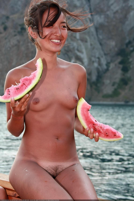 Watermelon girl nudist
