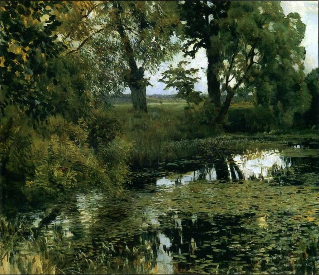 «Заросший пруд»1887г. Левитан Исаак Ильич.