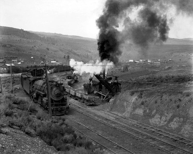 Denver & Rio Grande Western Railroad locomotive 1522 pulls freight cars past Wolcott, Eagle County, Colorado, between 1922 and 1930