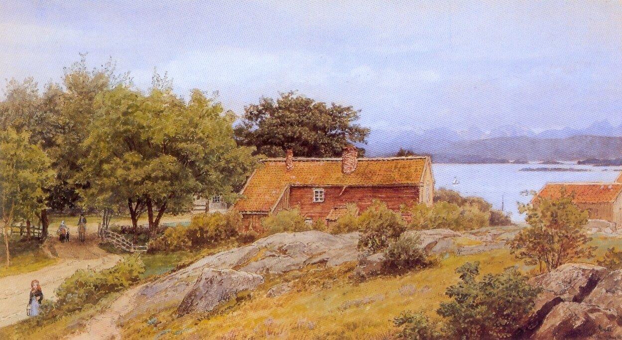 Hans Gude--Landskap Med Bondegard Molde--1890..jpg