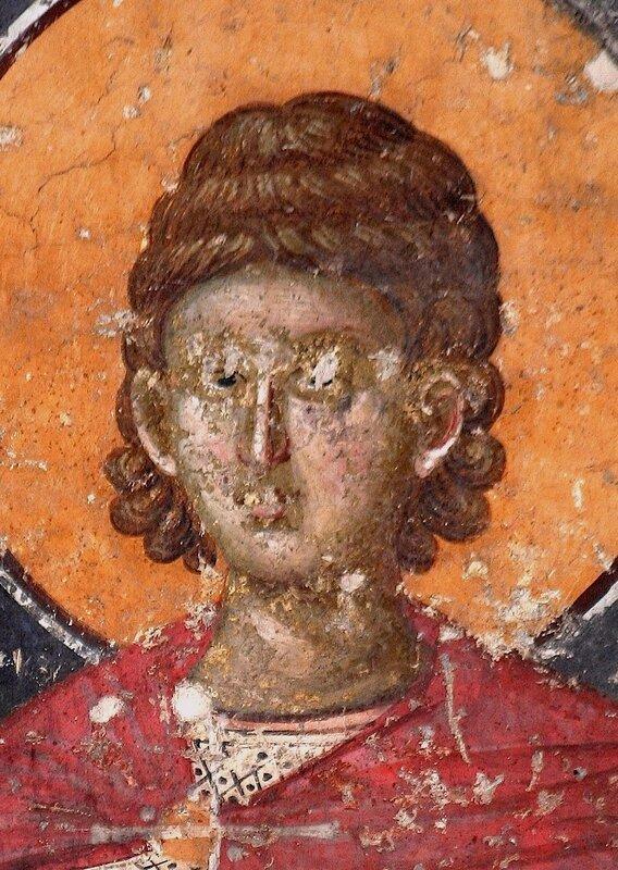 Святой мученик Андроник Тарсийский. Фреска монастыря Грачаница, Косово, Сербия. Около 1320 года. Фрагмент.