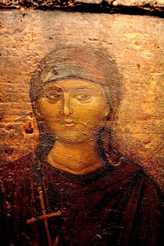Святая мученица Иерусалима. Фрагмент византийской иконы второй половины XIV века из города Верия. Византийский музей в Афинах.