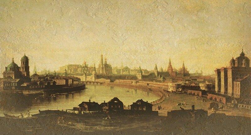 Вид на воспитательный дом и Кремль от Устьинского моста