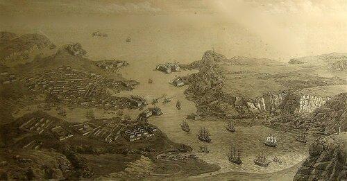 Литография перспектива города гавани и укреплений Севастополя; Берлин, 1850-е