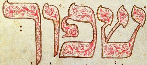 Моравская Агада. Инициал с растительным орнаментом 1737