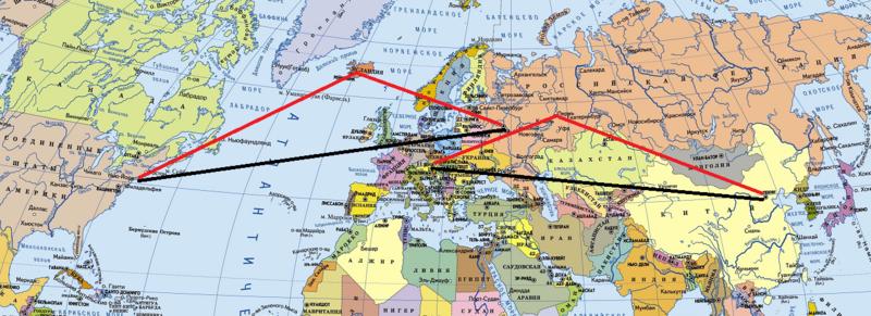 Политическая карта мира с авиамаршрутами.png