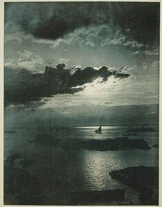 Корабли на рейде  в лунную ночь