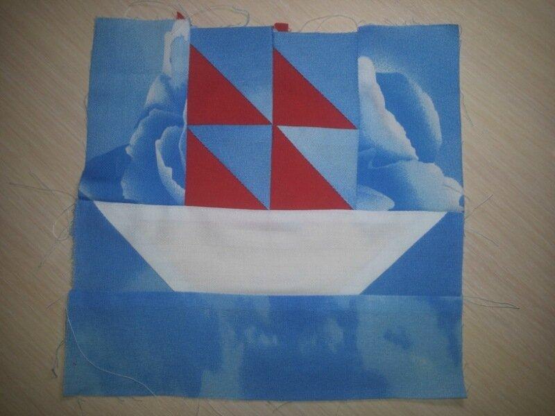 """Лоскутное шитьё № 3:  блок """"Парус"""", оранжевая сумка + разделители для папки"""