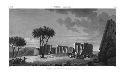 Рамессеум, храм фараона Рамсеса II, Египет, вид на руины с юга-запада, гравюра