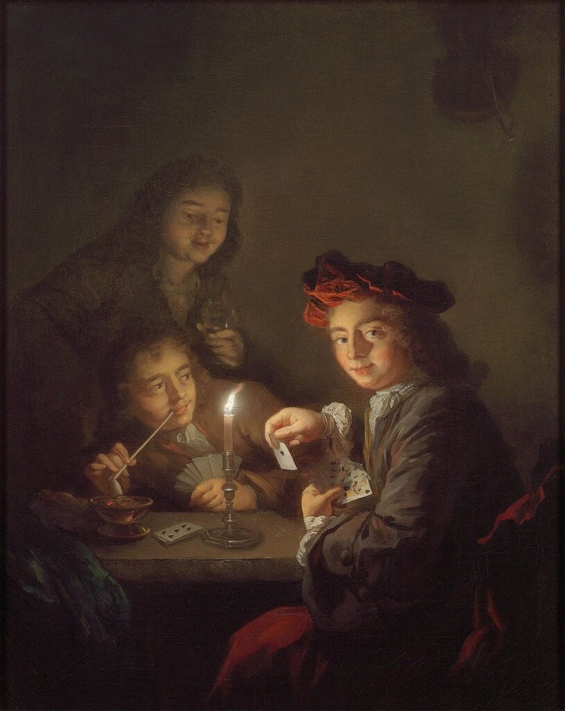 Arnold Boonen - A candlelit interior with boys playing cards - 97799-20.jpg