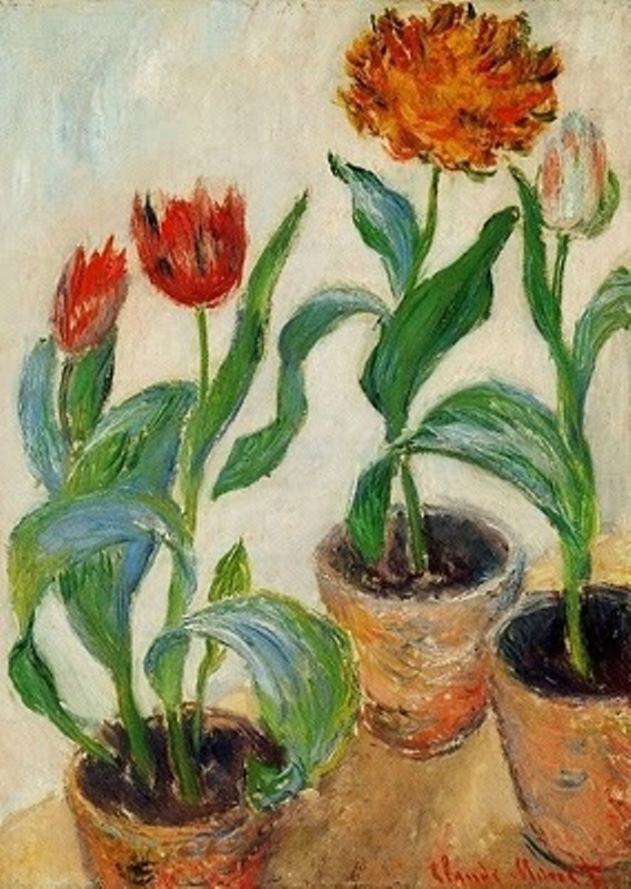 Claude Monet (French artist, 1840-1926) Three Pots of Tulips 1882.jpg