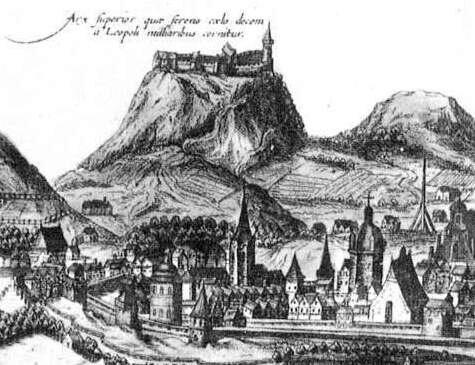 Высокий замок.Фрагмент гравюры панорамы Львова XVII век
