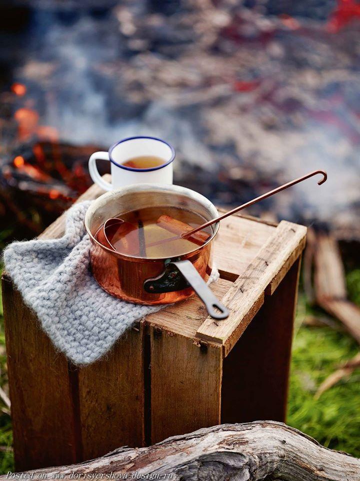 осень, пикник, чай, ковш, кружка