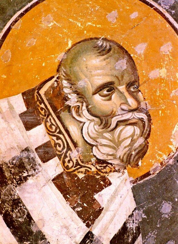 Святитель. Фреска церкви Богородицы Левишки в Призрене, Косово, Сербия. 1310 - 1313 годы. Иконописец Михаил Астрапа.