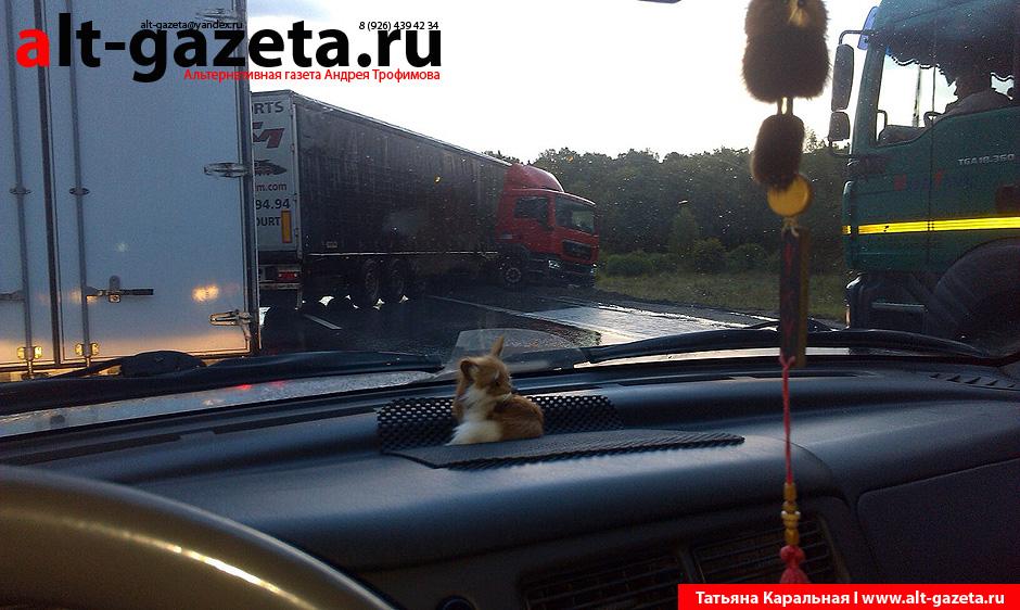 Фура парализовала движение на Ярославском шоссе
