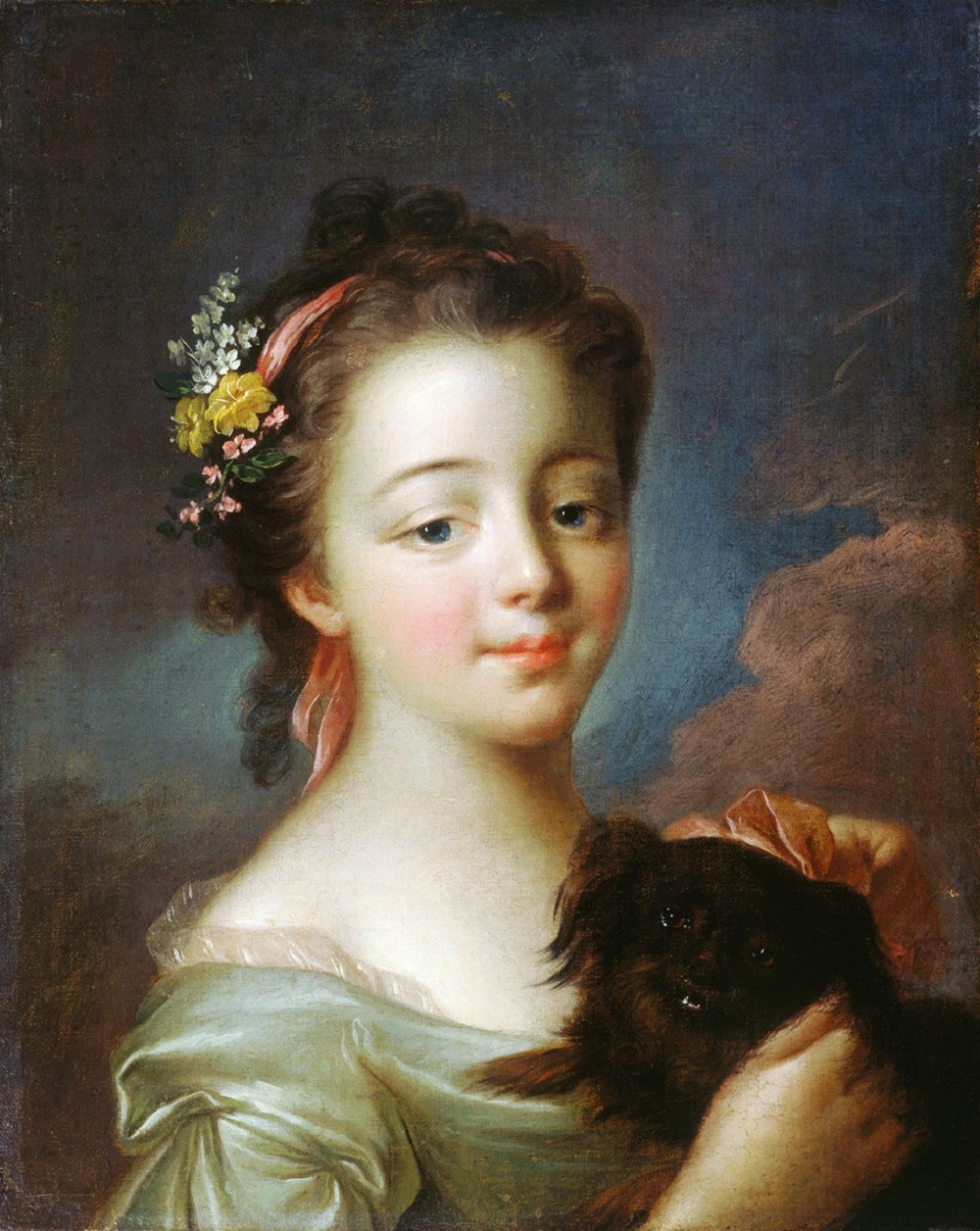 1 Девочка с собачкой Франсуа Гюбер Друэ младший 1750-1760-е гг.  холст, масло  41,2х37.jpg