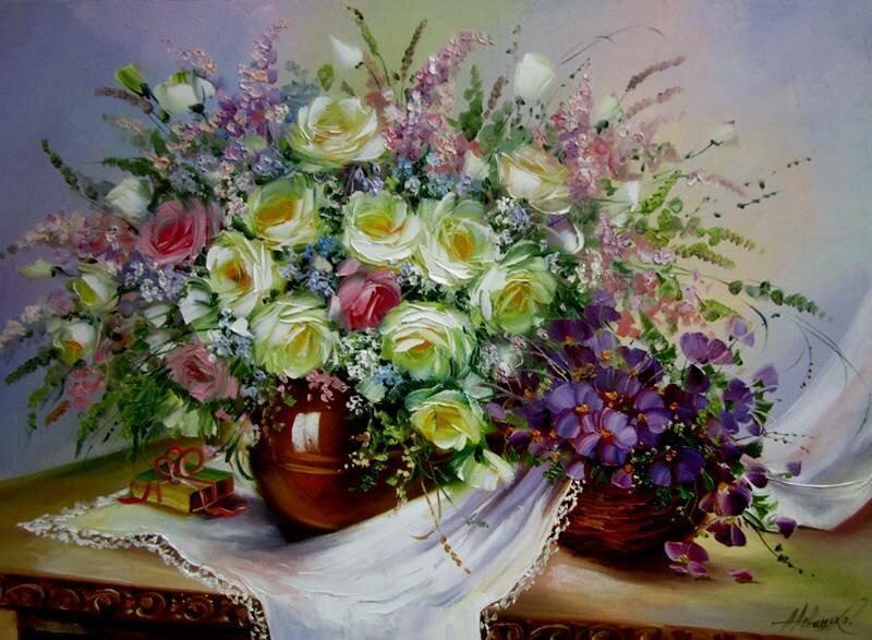 Ароматная цветочная картина художницы Надежды Левицкой