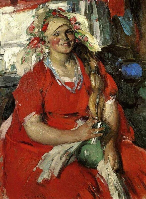 Архипов Абрам Ефимович. Женщина в красном. 1919г.