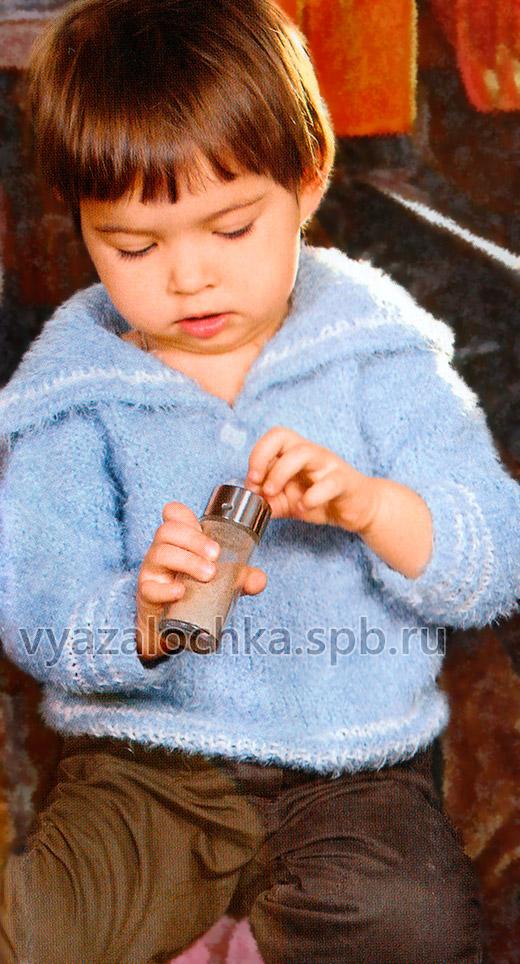 Детская матроска спицами крючком