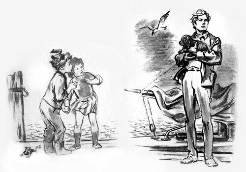 Бах! И он тут как тут! Точно в сказке. Вынырнув из рубки, он прыгнул на пристань и предстал перед Чёрвен и Стиной с крохотным щенком на руках.