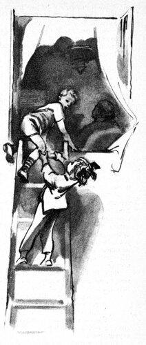 Уже на полпути он раскаялся, что послушался Чёрвен, и хотел было повернуть назад. Но не тут-то было, следом за ним карабкалась Чёрвен, а уж мимо нее никто бы не проскользнул.- Быстрее! - сказала она, безжалостно подталкивая его наверх.