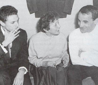 Эдит Пиаф с Шарлем Азнавуром и Жоржем Мустаки 1958 год