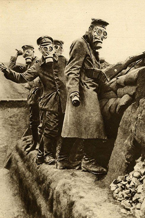 German troops wearing gas masks and throwing hand grenades, 23 April 1916.jpg