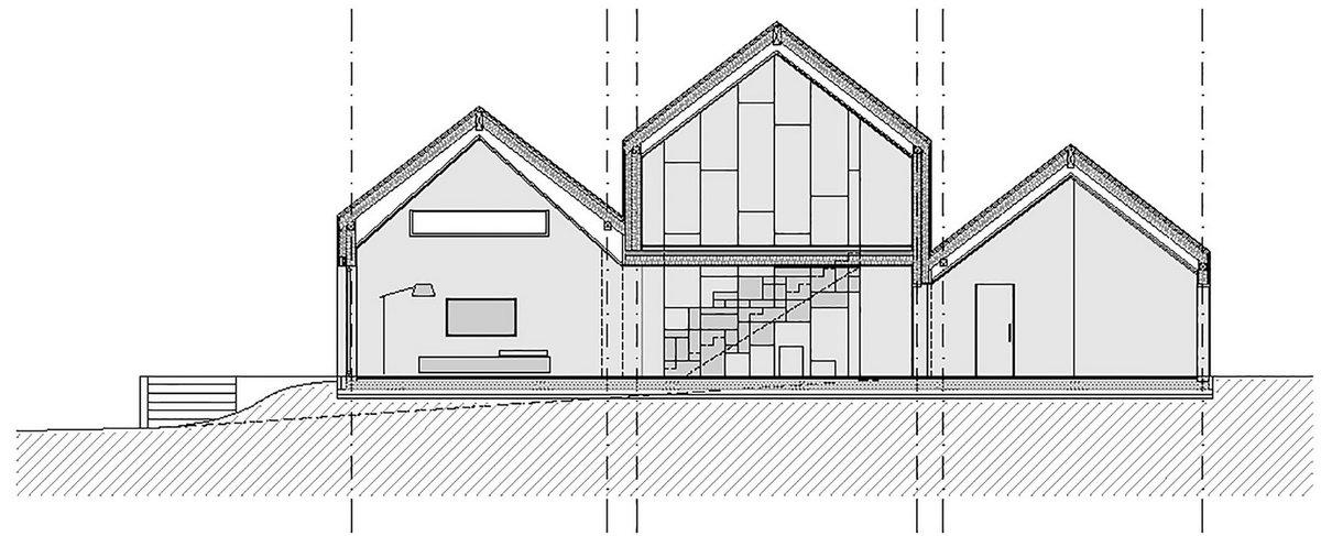 Ziga Lovsin, SoNo Arhitekti, двускатная кровля, план частного дома, схема частного дома, проект частного дома, дома в Словении, лестница в частном доме