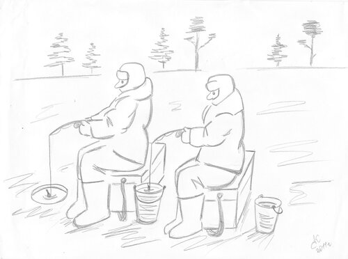 рыбак и рыбка карандашом