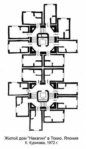 Жилой дом Накагин в Токио, план
