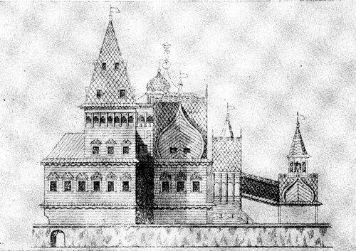 Рисунок 89а. Государевы хоромы с южной стороны (И. Забелин).