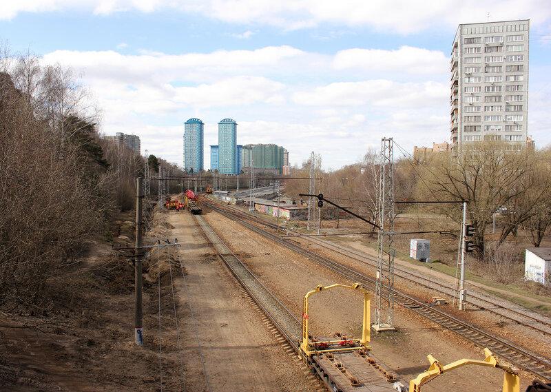 Вид с трамвайного моста на Тушино, перегон Подмосковная - Тушино